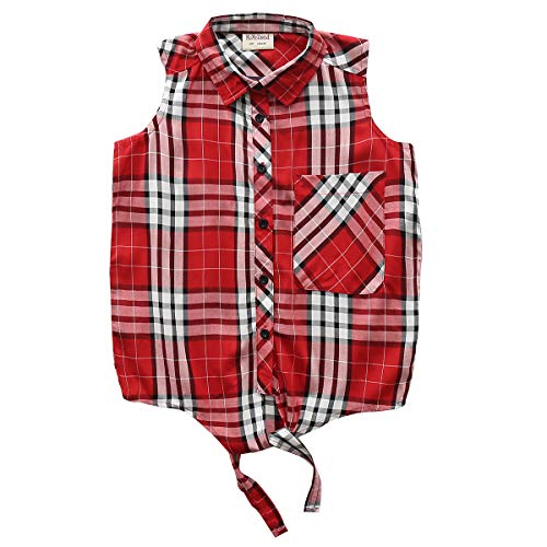 Woven Down Collar Button Shirt - Big Girls Sleeveless Woven Plaid Button Down Shirts with Collar Red Black Navy Color (12 Years, Red 7315)