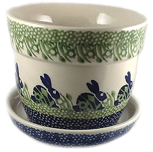 polish-pottery-flower-pot-or-planter-in-the-pattern-p324-bunny-rabbit-blue-and-green