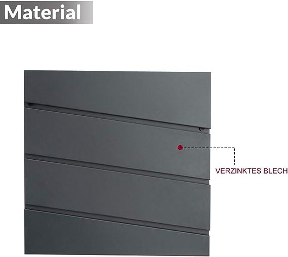 Monzana Buz/ón de pared acero galvanizado Antracita y gris con llaves espacio peri/ódicos cartas correo tapa protectora