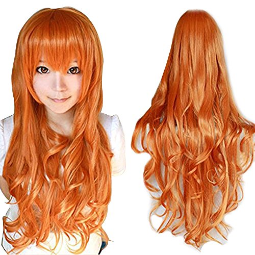 Orange Blossom Halloween Costume (Anogol Hair+Cap Orange Long Wavy Cosplay Wig Synthetic Wig for Girls Orange Cosplay Wig Orange Wavy Wig for Costume)