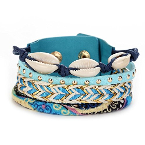 Bangle Bangles Shell (ARINLA Beautifull Handmade Multilayer Seashell Leather Wristband Bracelet Bangle Gift Jewelry)