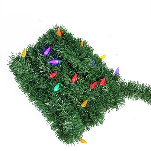 18' Pre-Lit Green Pine Artificial Christmas Garland - Multi LED Lights (Outdoor Pre-lit Christmas Garland)
