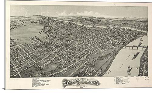 (Cutler Miles Parkersburg West Virginia 1899 Map Print on Wood)