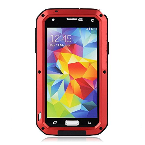 Galaxy S5 Case,Mangix Gorilla Glass Luxury Aluminum Alloy Protective Metal Extreme Shockproof Military Bumper Heavy Duty Cover Shell Case Skin Protector for Samsung Galaxy S5-Z-Red
