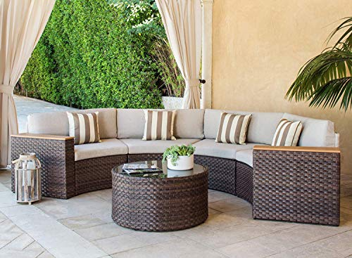 SOLAURA Outdoor 5-Piece Sectional Furniture Patio Half-Moon Set Brown Wicker Sofa Light Brown Cushions & Sophisticated Glass Coffee Table (Glass Round Sofa)