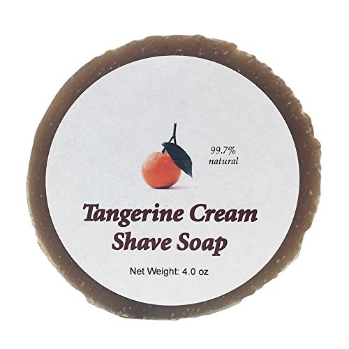 Tangerine Cream Shave Soap by MoonDance Soaps - Handmade with Shea Butter, Bentonite Clay, Citrus Essential Oils, and Vitamin E (One - Soap Shea Butter Grandpas