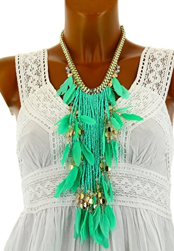 Charleselie94® - Gros collier sautoir couture perles plumes YANKEE