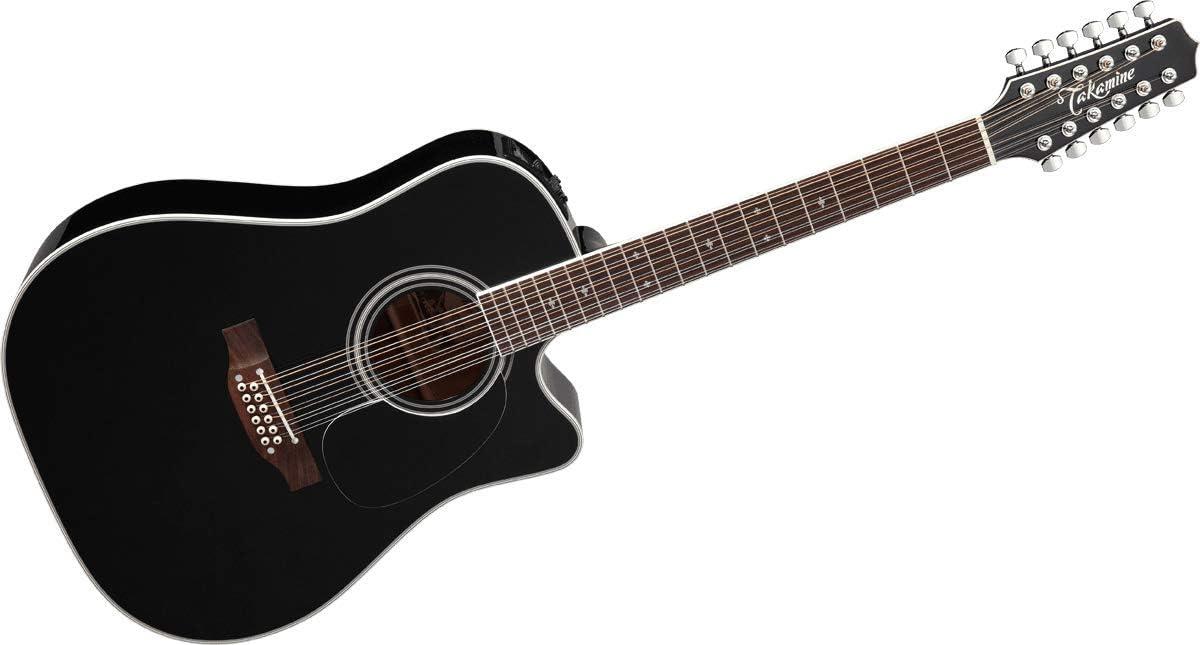 Guitarra takamine dreadnought cutaway electro black 12 st.: Amazon ...