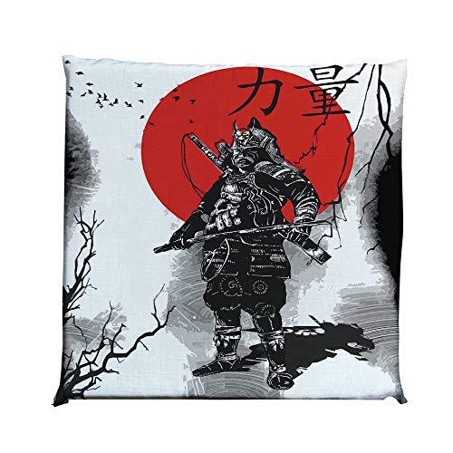 YOLIYANA Japanese Durable Square Chair Pad,Portrait of Skilled Educated Aristocrat Ancient Knight with Weapon Man of War Image for Bedroom Living Room,One Size