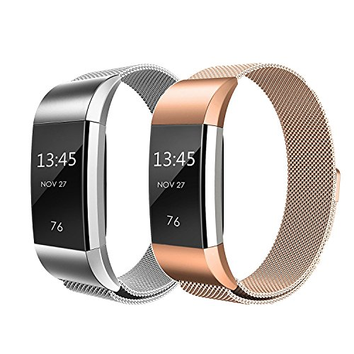 Bands for Fitbit Charge 2, SailFar Magnetic Clasp Mesh Loop Milanese Stainless Steel Metal Bracelet Strap/Watch Band for Fitbit Charge 2,Small/Large, Men/Women, Small, Silver + Rose Gold
