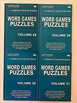 Book Lot of 4 WORD GAMES PUZZLES By Penny Press Selected Puzzles Dell