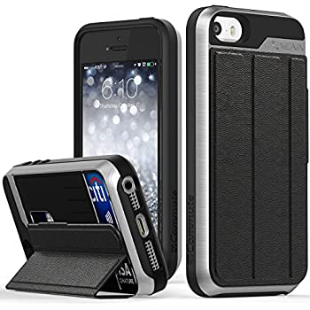 iPhone SE Wallet Case, Vena [vCommute][Drop Protection] Flip Leather Cover Card Slot Holder with KickStand for Apple iPhone SE 5 5S (Space Gray / Black)
