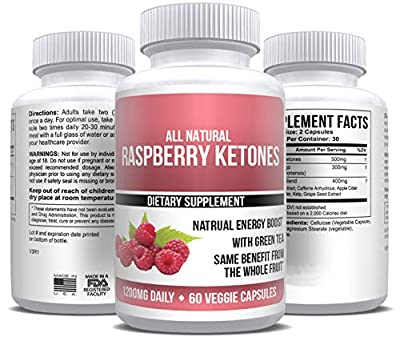 Pure Raspberry Ketones Extract 1,200mg Daily Top Keto Weight Loss 30-Day Supply 60 Capsules All-Natural Herbal and Max Fat Burner Supplement