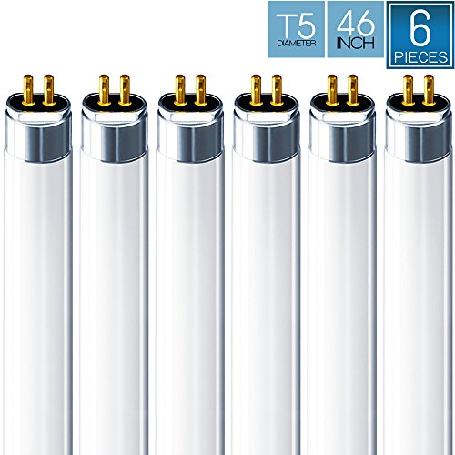 Luxrite F54T5/841/HO 54W 46 Inch T5 Fluorescent Tube Light Bulb, 4100K Cool White, 4200 Lumens, G5 Mini Bi-Pin Base, LR20770, 6-Pack Base Cool White 4100k Fluorescent
