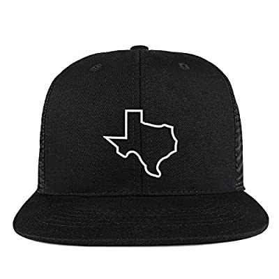 Trendy Apparel Shop Texas State Outline Embroidered Cotton Flat Bill Mesh Back Trucker Cap