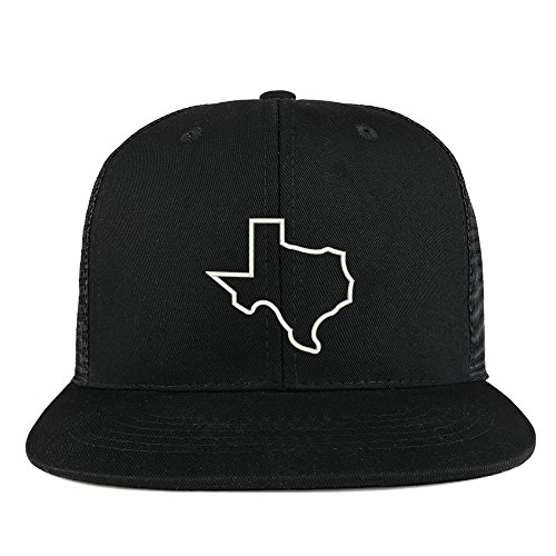 (Trendy Apparel Shop Texas State Outline Embroidered Cotton Flat Bill Mesh Back Trucker Cap - Black)