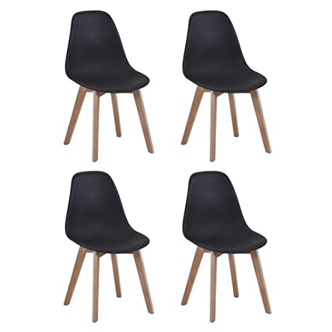 Groovy Kaihe Modern Lounge Dining Chairs Eiffel Wood Kitchen Chairs Retro Set 4 For Dining Room Black Dailytribune Chair Design For Home Dailytribuneorg