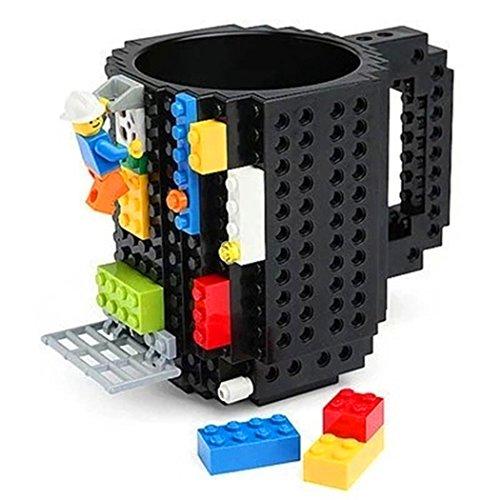 Prettysell Build-On Brick Mug Lego Type Building Blocks Coffee Cup DIY Block Puzzle Mug 12oz Plastic-(Black)