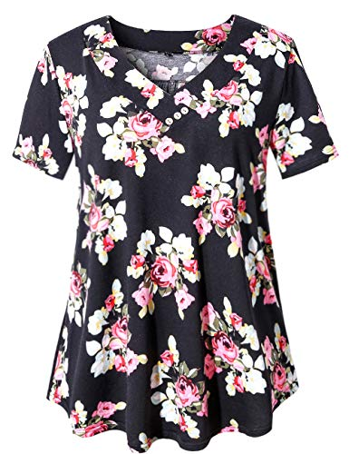 U.Vomade Women's Tops Floral Print Short Sleeve Blouses Summer Tunic Black Flower Large
