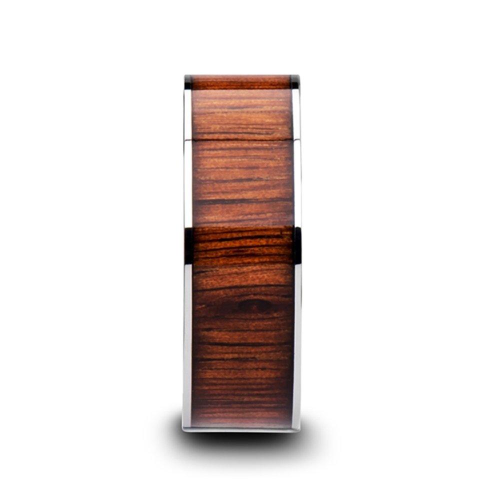 Thorsten KALANI Flat Style Polished Tungsten Carbide Wedding Ring with Koa Wood Inlay and Polished Beveled Edges Comfort Fit Lightweight Durable Wedding Band - 8mm