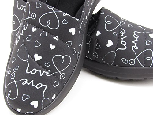 Ocean Women's Cute Memory Foam Nursing Shoes - Printed - Florence (10, Stetho Love Black) by Keep Nursing (Image #6)