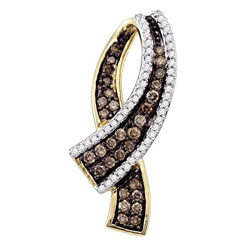 Roy Rose Jewelry 10K Yellow Gold Cognac-brown Color Enhanced Round Pave-set Diamond Womens Ribbon Pendant 1/2-Carat tw