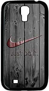 Red Nike Logo Just Do It Wood Look Samsung Galaxy S4 I9500 Case, Kinyun DIY Hard Shell Black Edges Skin Protector Cover for Galaxy S4