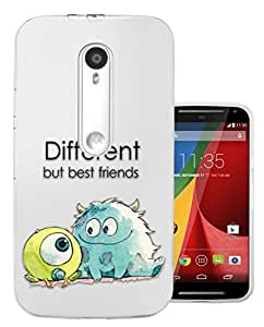 c0038 - Cool Fun Monsters Different But Best Friends Design Moto G3 Fashion Trend CASE Gel Rubber Silicone All Edges Protection Case Cover