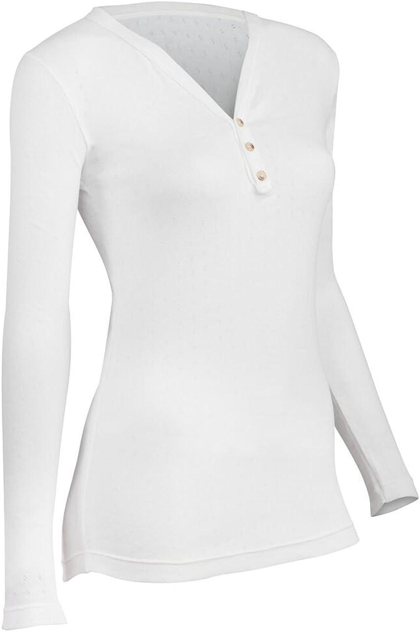 Indera Women's Pointelle Henley Top, White, Medium 180PS