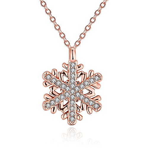 Necklaces For Women Sownflake Shaped Cubic Zirconia Pendent Chain Necklace Party Jewelry Rose Gold