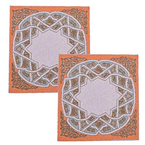 Decozen Set of 2 Embroidered Beaded Placemats Coffee table Dining Table Mats Satin Back Orange and White Glass Beaded Pattern Housewarming Gift 15 x 15 inches ()