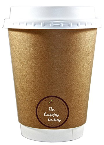 Premium Quality 12oz Disposable Paper Coffee Cups with Lids(50 counts),Insulated Double Wall-No Sleeves Needed-Leak Proof, Eco Friendly,Perfect for Hot & Cold Drinks in Office,Home,Travel,Party&more