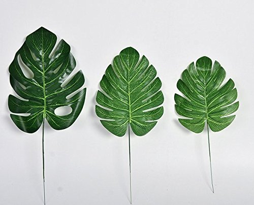 URTop 30Pcs 3 Different Size Artificial Leaf Tropical Palm Leaves Simulation Leaf for Hawaiian Luau Beach Theme Party Desk Decorations Home Garden Decor