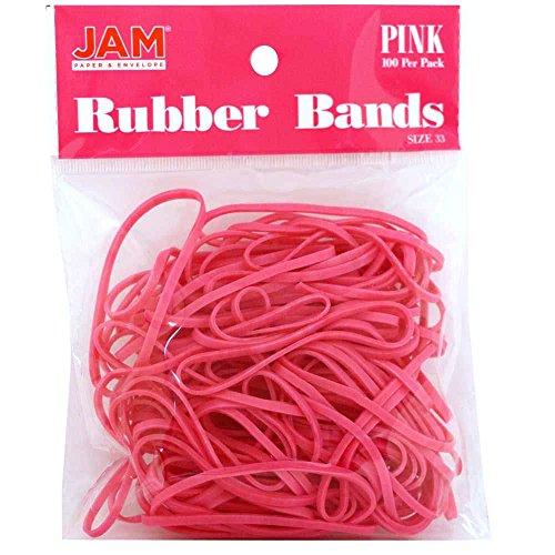 JAM Paper® Rubber Bands - Regular Size 33 - Pink - 100 Color Rubber Bands Per Pack