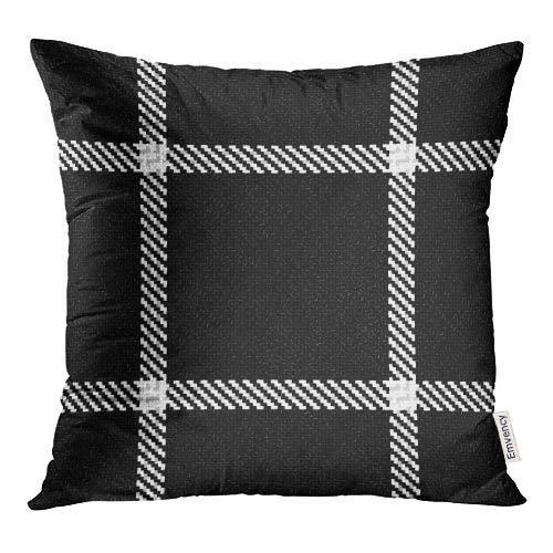 Emvency Abstract Lumberjack Black and White Pattern Hipster Tartan Buffalo Check Plaid Celtic Throw Pillow Covers 16x16 Inch Decorative Cover Pillowcase Cases Case Two Side ()