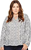 Lucky Brand Women's Plus Size Peasant Top, Blue/Multi, 1X