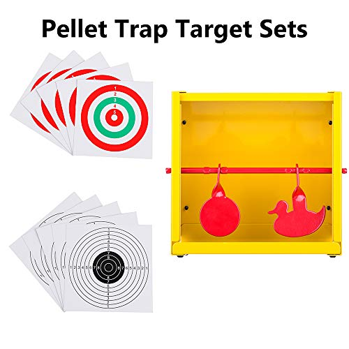 - BB Trap Target with Paper Shooting Targets and Resetting Metal Silhouettes Targets for Airsoft Gun-BB Gun