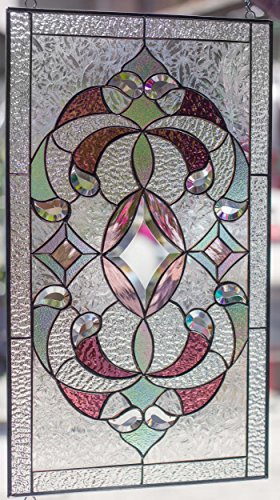 (Mexicolour Tiffany Stained Glass Window Elegant Victorian Diamonds Beveled Pieces Window Panel)