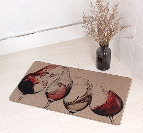 LEEVAN Kitchen Rugs Mat, Microfiber Non-Skid Rubber Backing Washable Doormat Floormat Area Rug Carpet(Red Wine,17