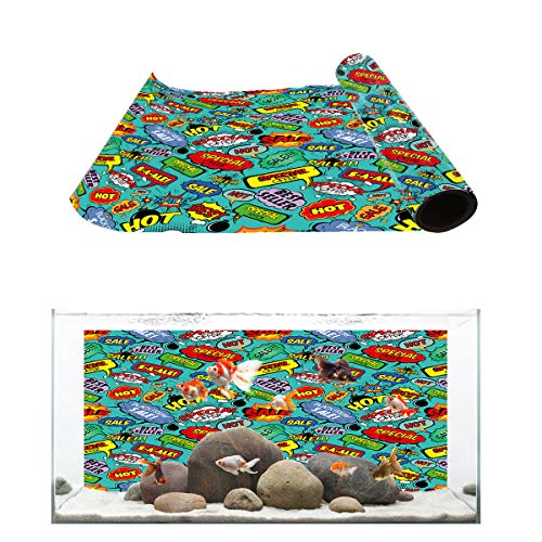 Libaoge Busy Street Aquarium Background, Text Panels in Bussiness Street Fish Tank Background Decoration PVC Sticker Wallpaper Photo Adhesive Paper Poster Backdrop 24.4