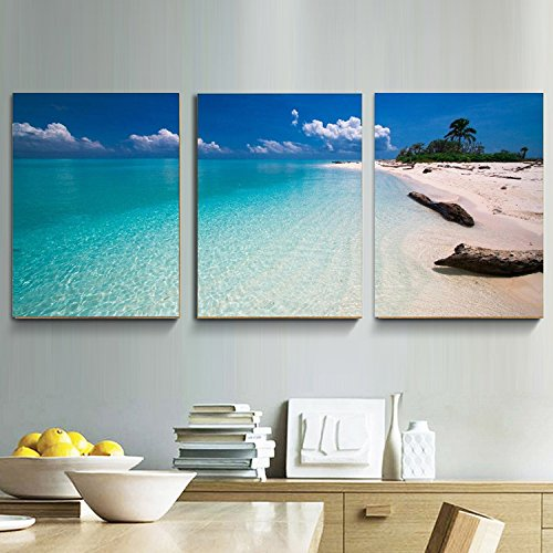 Amoy Art -3 Panel Canvas Wall Art for Home Decor Blue Sea Beach Painting Picture Print On Canvas Seascape Pictures For Home Decoration Framed Ready to Hang