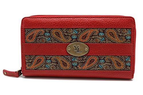 YL Zip Around Women's Genuine Leather Wallet Purse Hipster Embroidery lace (YL-02) (Red)