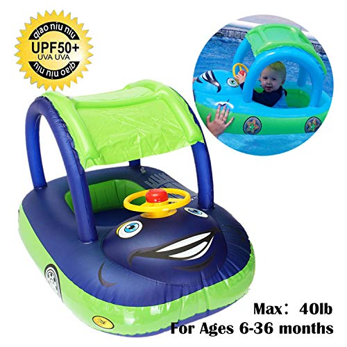 baby pool float with canopy Summer Steering Wheel Sunshade Swim Ring