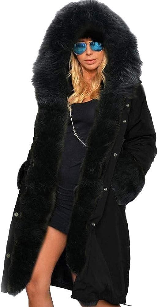 Women Fashion Long Cosy Winter Coat Hooded Warm Coat Parkas Fluffy Down Jackets Outwear Black Size L