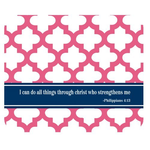 "High Quality Bible Verse ""I can do all things through christ who strengthens me"" Philippians 4:13 with Quatrefoil Rectangle Non-slip Mouse Pad,Gaming Mouse Pad,Office Mousepads,Desktop Mousepad"