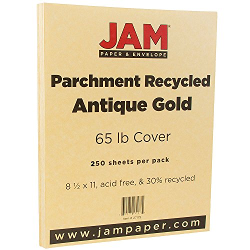JAM PAPER Parchment 65lb Cardstock - 8.5 x 11 Coverstock - Antique Gold Recycled - 250 Sheets/Ream