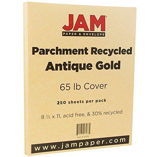 JAM PAPER Parchment 65lb Cardstock - 8.5 x 11 Coverstock - Antique Gold Recycled - 250 - 250 Envelopes Antique