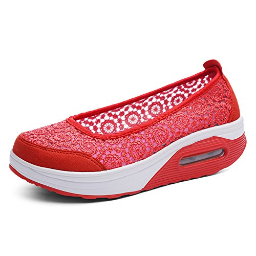 Platform Red Walking IINFINE Sneakers High Women's Lightweight Fitness Shoes Heel Wedges 5qwwx7f6v