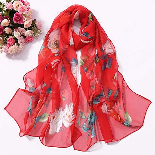 (HYIRI Fashion Women's Roses Printing Long Soft Wrap Scarf Simulation Silk Shawl Scarves Literary)