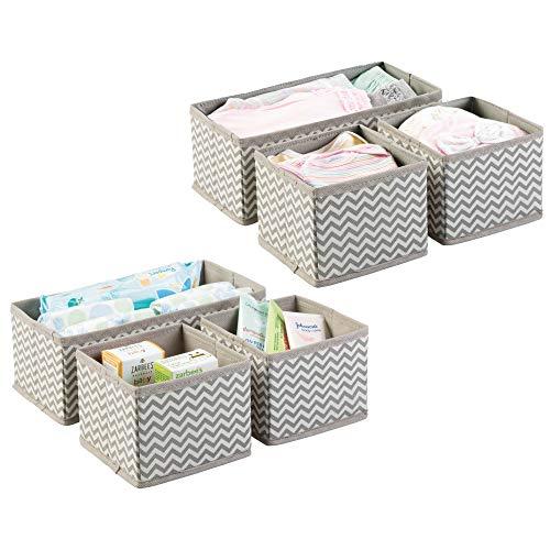 Baskets Storage Baby (mDesign Soft Fabric Dresser Drawer and Closet Storage Organizer for Kids/Toddler Room, Nursery, Playroom, Bedroom - Chevron Zig-Zag Print - Organizing Bins in 2 Sizes - Set of 6 - Taupe/Natural)